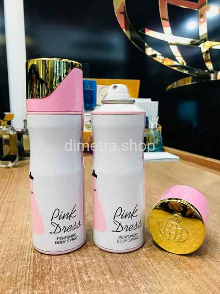 Арабский дезодорант Pink Dress pour Femme 200 ml. Аромат Guelain Robe Noir Fragrance World.
